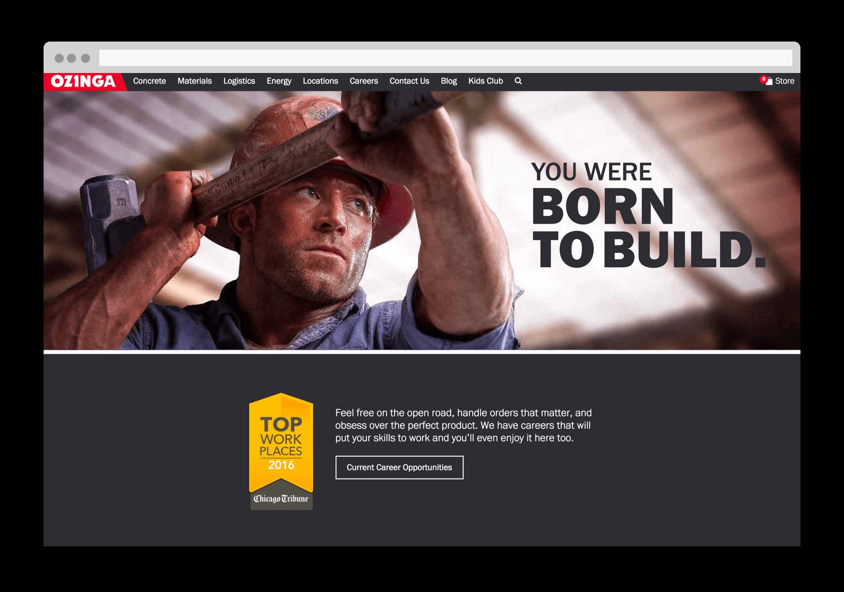 Ozinga born to build desktop page