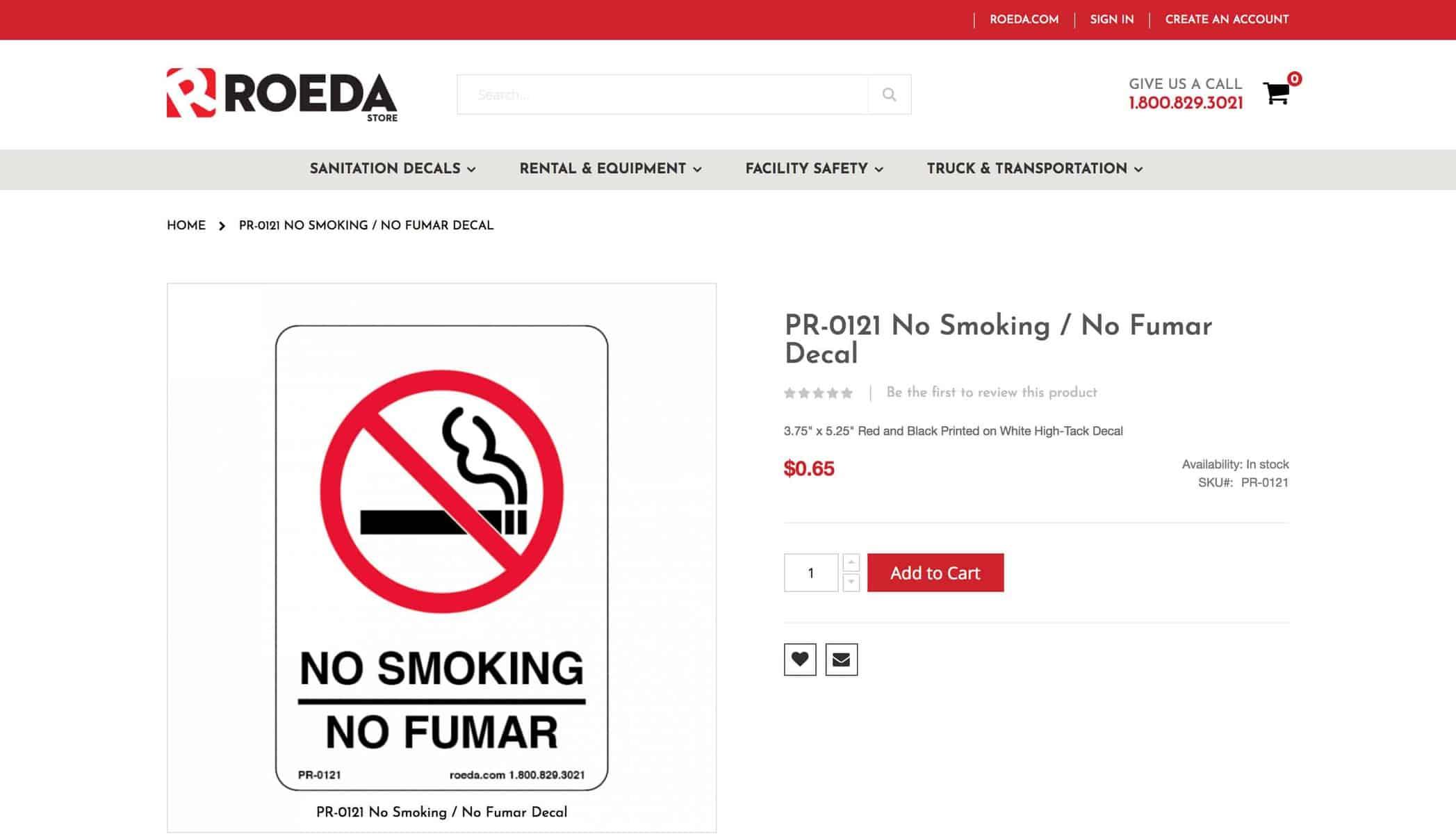 Roada website sales page